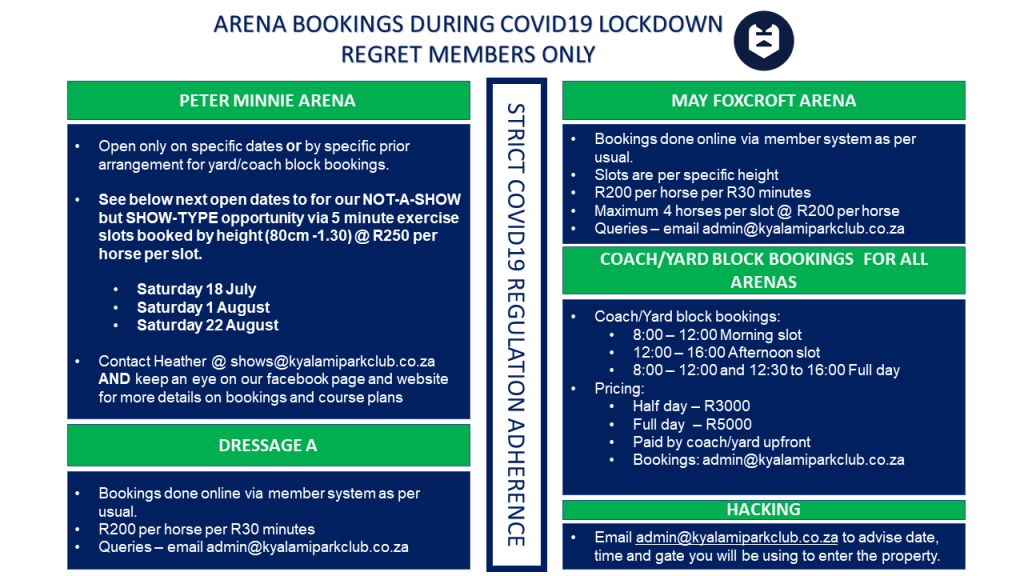 ARENA BOOKINGS COVID19 REGULATED
